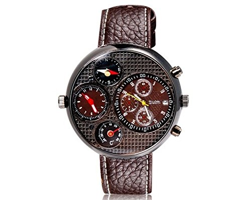 Ppmart Oulm 9310 Unisex Dual-Movement Sports Mechanical Watch With Gmt Dual Time Display, Thermometer & Compass (Brown) M.