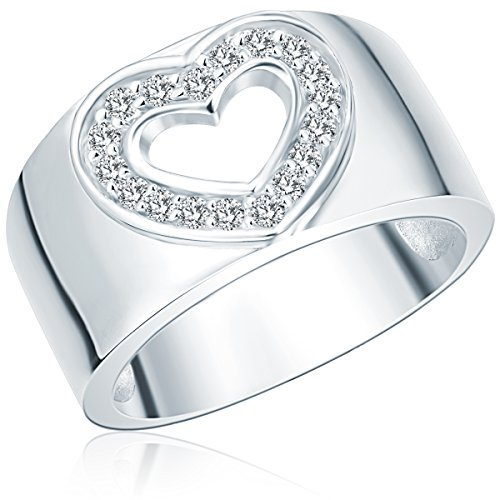 Rafaela Donata Damen-Ring Classic Collection 925 Sterling Silber Zirkonia Herz 60400038