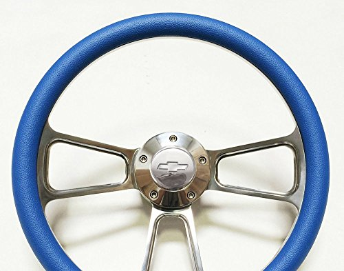 New World Motoring 1966 Malibu Steering Wheel - Billet Aluminum, Sky Blue, Chevy Horn, Adapter (Steering Wheel Bowtie Malibu compare prices)