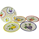 Le Cadeaux Melamine Fruit Motif Boxed Assorted Appetizer Plates
