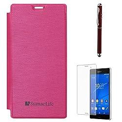 SumacLife Premium Flip Cover Case for Sony Xperia Z3 (Magenta) + Laser Torch Stylus Pen + Matte Screen