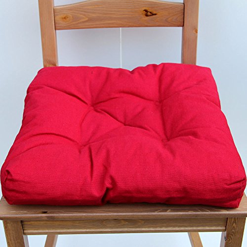 Red Cotton Kitchen Chair Cushion Pad