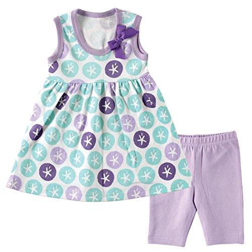 Hudson Baby Baby Dress and Cropped Legging Set, Purple Sand Dollar, 0-3 Months