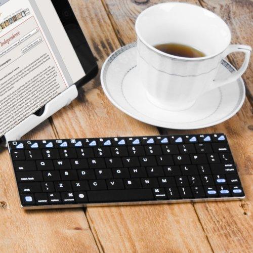 GMYLE(R) Bluetoothアルミニウム 無線ワイヤレス薄型ミニキーボード8.5インチ [ブラック] (ショートカットキーがiPad Mini, Macbook Retinaディスプレイ,iPhone 4S/5/5C/5S対応します、IOS 7.0対応する)