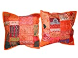 Decorative Cushion Covers, 2 Patchwork Sari Pillow Shams Orange Red Embroidered Toss Pillow Covers