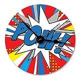 Hot Off The Press Wooden Clock - Pop Art 'POW' Round Face
