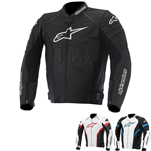 Alpinestars GP Plus R Perforated Perforated Men's Leather Motorcycle Jackets - Black/White / X-Large