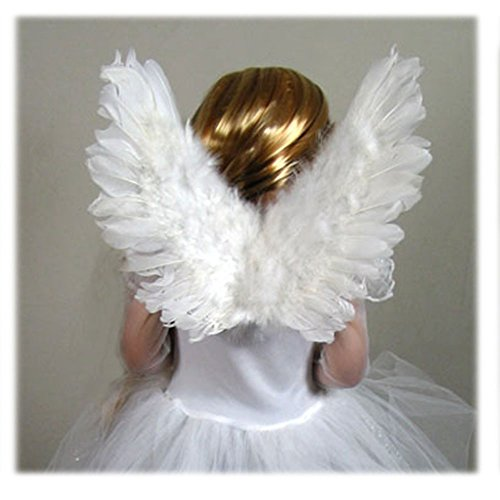 SACAS Small White Feather Angel Fairy Wings for kids, girls boys w/ Free Halo