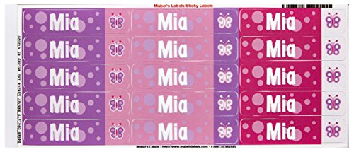 Mabel'S Labels 40845181 Peel And Stick Personalized Labels With The Name Mia And Butterfly Icon, 45-Count front-546921