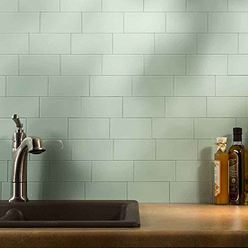 peel and stick backsplash 3inx6in morning dew glass backsplash tile