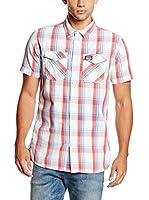 Superdry Camisa Hombre (Blanco / Rosa / Cielo)