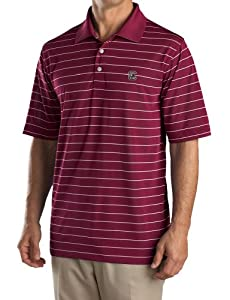 NCAA Mens South Carolina Fighting Gamecocks Chutney White Drytec Sweeten Stripe Tee by Cutter & Buck