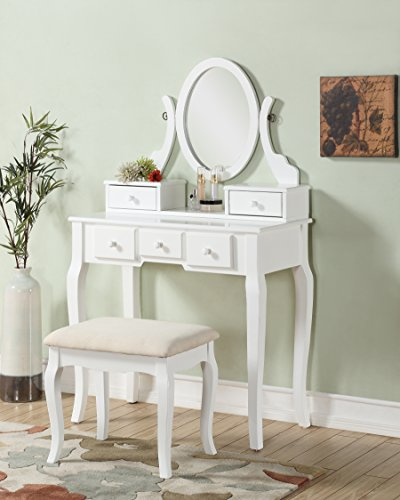 Great Deal! 3-Piece Wood Make-Up Mirror Vanity Dresser Table and Stool Set, White