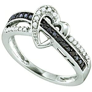 0.25 Carat (ctw) 10k White Gold Round Black & White Diamond Ladies Crossover Heart Bridal Promise Ring