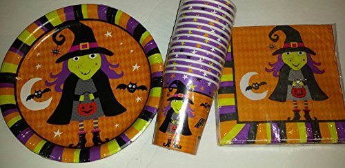 Halloween Party Witch Design Plates (18), Napkins (18) And Cups (14) (Halloween Party Designs)