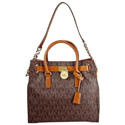 Michael Michael Kors Women'S Hamilton Large Logo North/South Tote, Brown Pvc, One Size