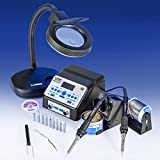 """""""USA EXCLUSIVE"""" X-TRONIC 8010-XTS - """"DUAL"""" Antistatic Digital Soldering Station With 2 Each Programmable 60 Watt Soldering Irons - ESD Safe - C/F - 10 Solder Tips - Brass Tip Cleaner & Flux - Extra Heating Element - IC Popper - 5X Magnifyng Lamp"""