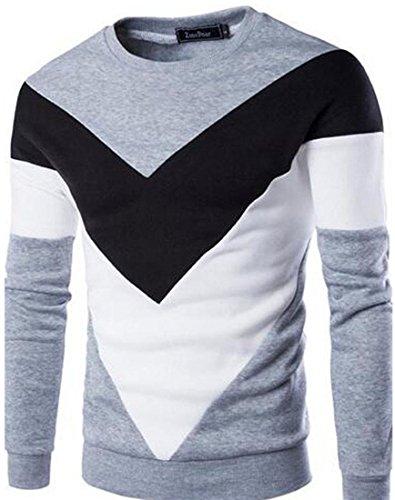 jeansian Uomo Moda Colori Misti Felpa Pullover Maglietta Felpe Sweater Shirts 88F2 Gray S