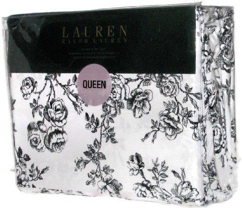Lauren Ralph Lauren Queen Sheet Set Black White Roses Floral Toile