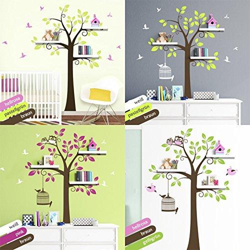 grandora-w5129-adesivo-murale-3-colori-albero-con-uccelli-motivo-1-bxh-135-x-200