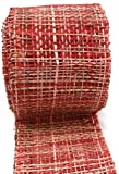 Arts Craft Natural Abaca Burlap, Red, 4-Inch by 10-Yard