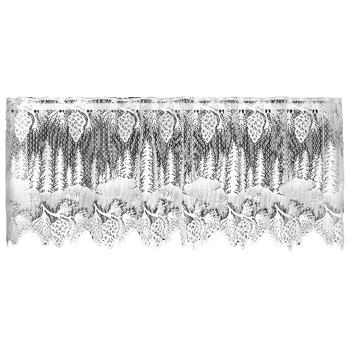 Heritage Lace Pinecone 60-Inch Wide by 16-Inch Drop Valance, White