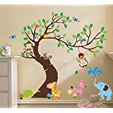 "The owl monkey paradise"" Lovely blooms zoo nursery children's room decorative wall stickers Kids Vinyl Sticker Home Decoration"