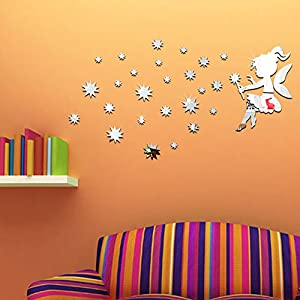 LY&HYL Mirror stereo wall stickers stars wall sticker wallpaper paste 74cm*40cm by LY&HYL Wall Sticker
