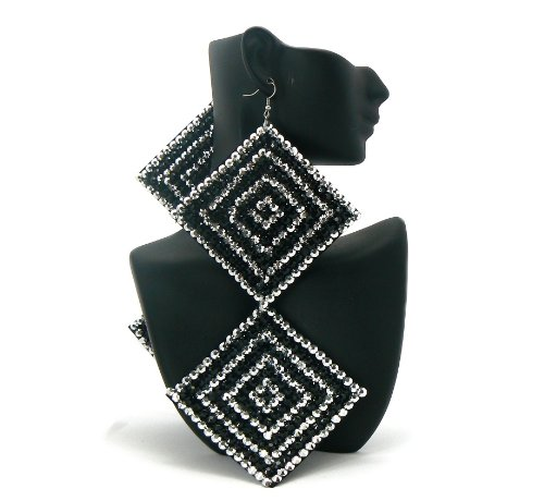 Black with Silver Two-Tone Square Poparazzi Iced Out Light Weight Basketball Wives Earrings Lady Gaga Paparazzi