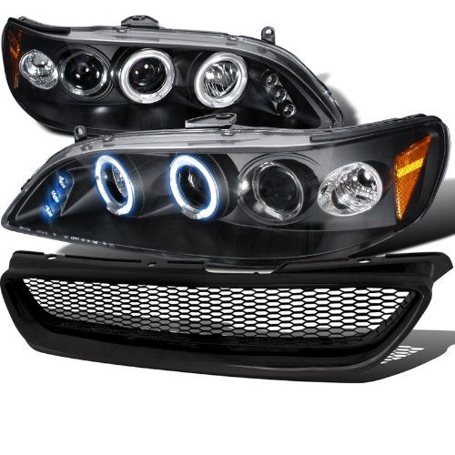 Honda Accord 2Dr Black Halo Led Projector Headlights, Black Mesh Grill