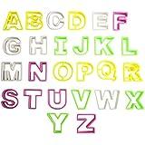 Lot de 26 découpoirs emporte-pièces alphabet multicolores en plastique pour biscuit gâteau cookie pâtisserie par CurtzyTM