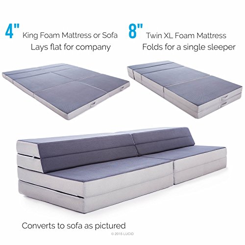 lucid 8 4 convertible folding foam mattress sofa king