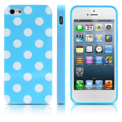 iPhone 5S Case, MagicMobile® Ultra Slim Thin Durable Fashion Cute Glossy Cover for iPhone 5 TPU Polka Dot Pattern iPhone 5S Case [Dual Color: Light Blue - White] (Lifeproof Ipod 5 Case Inserts compare prices)