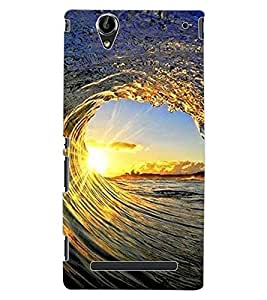 ColourCraft Beautiful Waves Design Back Case Cover for SONY XPERIA T2 ULTRA DUAL D5322