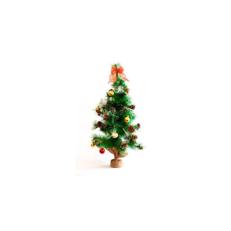 Urban 32 Pre lit Christmas Tree with Decorations and 20 Battery Operated Color Changing LED Fiber Lights