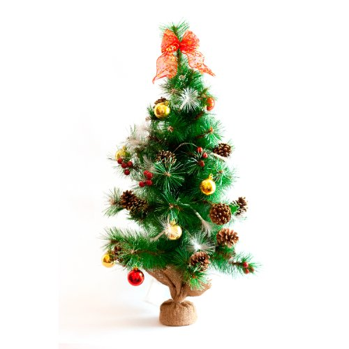"Urban 32"" Pre-lit Holiday Tree with Decorations and 20 Battery Operated Color Changing LED Fiber Lights"