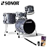 Sonor SSE-10-SAFARI-C1-BGS-KIT-1 Safari 4 Piece Drum Set with Evans Drumset Survival Guide, Vic Firth/DPS Music 5A Drumsticks and LP Rumba Shaker