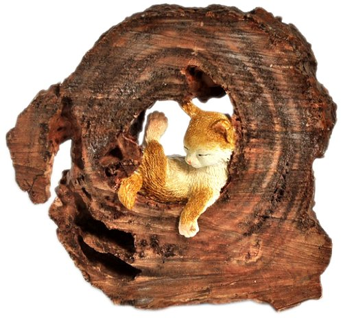 Top Collection Enchanted Story Garden Kitten Napping in Tree Trunk Outdoor Decor