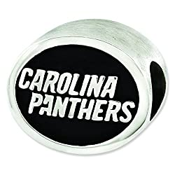 Sterling Silver Enameled Carolina Panthers NFL Bead Charm