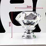 Showutheworld 30mm Diamond Shape Crystal Glass Cabinet Knob