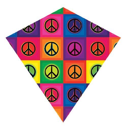"25 Inch ""Peace"" ColorMax Nylon Diamond Kite with Line & Winder/Handle"
