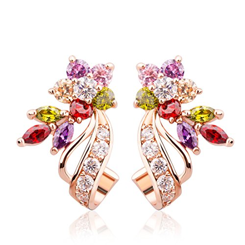 Bamoer Gorgeous Flower Design Rose Gold Plated Multi Color Cubic Zirconia Stud Earrings