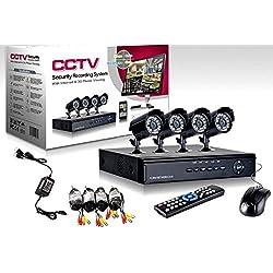 KIT VIDEOSORVEGLIANZA h264 CCTV 4 CANALI TELECAMERA INFRAROSSI+DVR+ALIMENTATORE