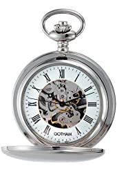 Gotham Men's Silver-Tone Mechanical Pocket Watch with Desktop Stand # GWC14050S-ST