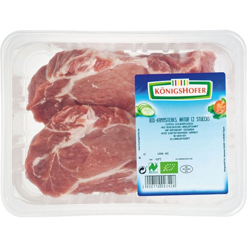 K&#246;nigshofer Bio Schweinekamm-Steaks natur 2 St&#252;ck ca. 350 gr 350 gr