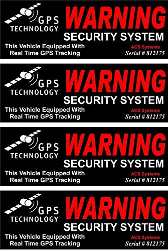 4 Set Greatest Popular Inside Adhesive GPS Warning Security System Sticker Sign Door Reflective Car Decal Anti-Theft Size 4.5