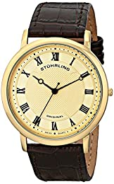 Stuhrling Original Symphony Classique 45 Men's Quartz Watch with Gold Dial Analogue Display and Brown Leather Strap 645.05