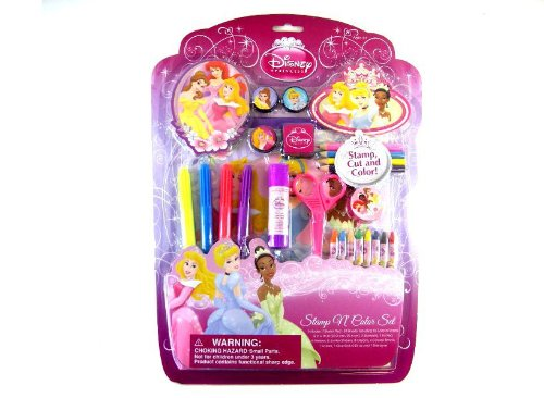 Disney Princess Stamp And Cup Art Set - Princess Art Set - Princess Coloring Set - 1