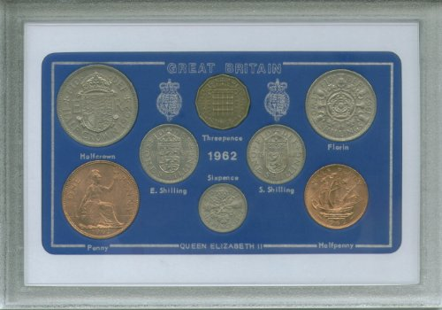 1962 British Coin Birth Year Gift Set (50th Birthday Present or Golden Wedding Anniversary)