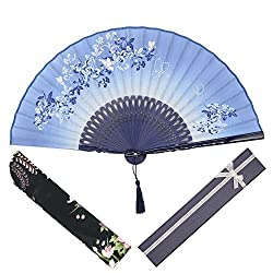 "OMyTea® 8.27""(21cm) Women Hand Held Silk Folding Fans with Bamboo Frame - With a Fabric Sleeve for Protection for Gifts - Chinese / Japanese Style Butterflies and Morning Glory Flowers Pattern from OMyTea"